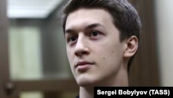 Yegor Zhukov at a court hearing in Moscow on December 3