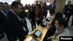 Armenia - Election officials in Yerevan test voter authentication devices that will be used in parliamentary elections, 25Mar2017.