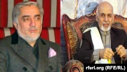 The Independent Election Commission says initial results based on 10 percent of the vote from 26 out of 34 provinces show Abdullah Abdullah (left) in the lead with 41.9 percent. Ashraf Ghani (right) trails with 37.6 percent.