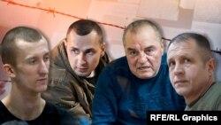 Украинские политзаключенные в России (коллаж). Слева направо: Александр Кольченко, Олег Сенцов, Эдем Бекиров, Владимир Балух