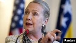 Sekretarja amerikan e shtetit, Hillary Clinton, gjatë konferencës së sotme për media në Sarajevë