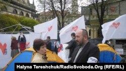 Галадоўка прыхільнікаў Цімашэнкі ў Львове, 25 красавіка 2012 г.