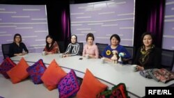 Aliya Suranova (left) of the Kyrgyz Service leads the weekly show Sisterhood in Bishkek, Kyrgyzstan.