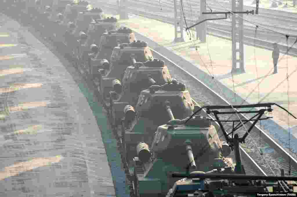 Railway cars carry T-34 tanks handed over by Laos, at Chita railway station in eastern Russia, January 13, 2019.