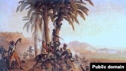 «Бітва на Санта-Дамінга», карціна Януарыя Сухадольскага, які паказвае сутыкненьне паміж польскімі войскамі на французскай службе і гаіцянскімі паўстанцамі.
