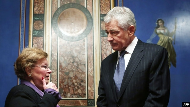 Senate Appropriations Committee Chairman Barbara Mikulski meets with the president's nominee for secretary of defense and former Senator Chuck Hagel in Washington on February 7, 2013.