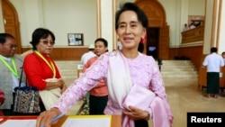 Лидер движения за демократию Мьянмы Аун Сан Су Чжи