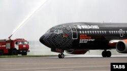 A Belavia Belarusian Airlines plane arrives at Zhukovsky International Airport in September.