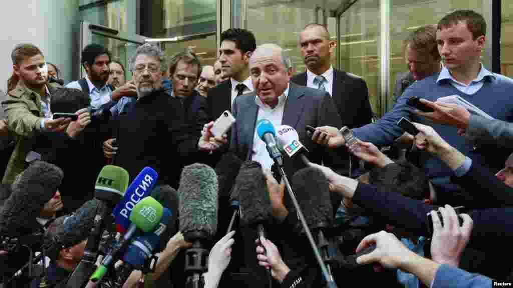 Boris Berezovsky speaks to the media after losing his court battle against oligarch Roman Abramovich in August 2012.