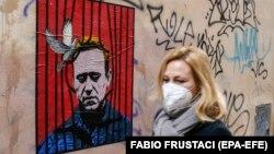 Graffiti cu Aleksei Navalnîi, pe o stradă din Roma