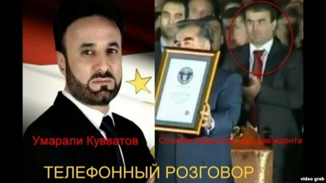 A video grab from a clip purporting to be a taped telephone conversation between Quvatov and Shamsullo Sohibov, a son-in-law of Tajik President Emomali Rahmon.