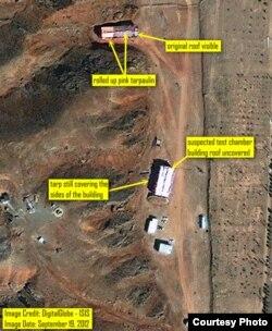 Военная база в Парчине, где проводились странные, с точки зрения МАГАТЭ, испытания - спутниковая съемка 19 сентября 2012 г.