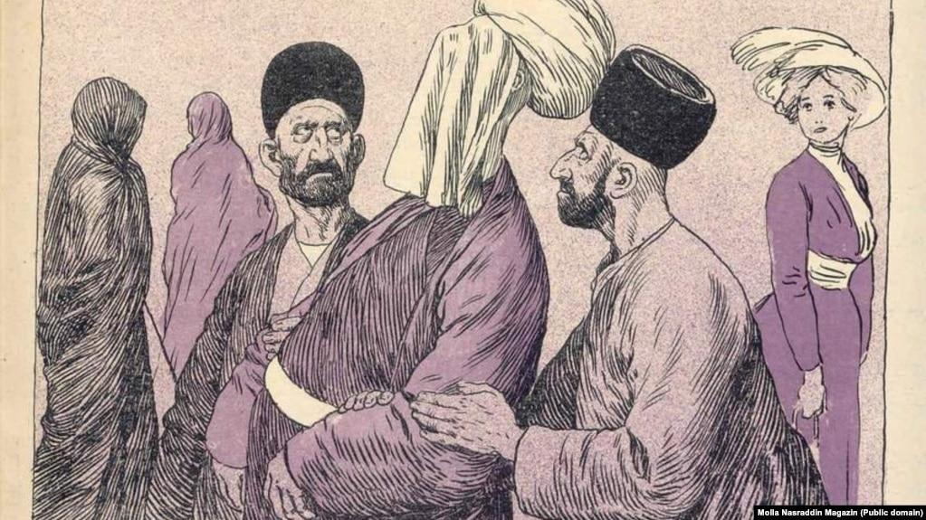 «قربانش بروم شیخ حسین آقای قره باغی از کوچه که می گذرد، چشمهایش را میبندد تا زنان نامحرم را نبیند…» (مجله «ملانصرالدین» بیتاریخ)