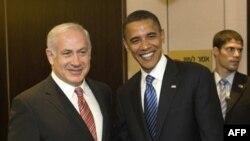 آقای اوباما در دیدار با بنیامین نتانیاهو، رهبر اپوزیسیون دولت اسرائیل. (عکس: AFP)
