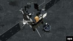 Аппарат Philae отсоединяется от космического зонда и начинает спуск на комету (12 ноября 2014 года)
