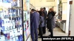 Armenia -- A queue at a pharmacy in Yerevan, 28Feb2018