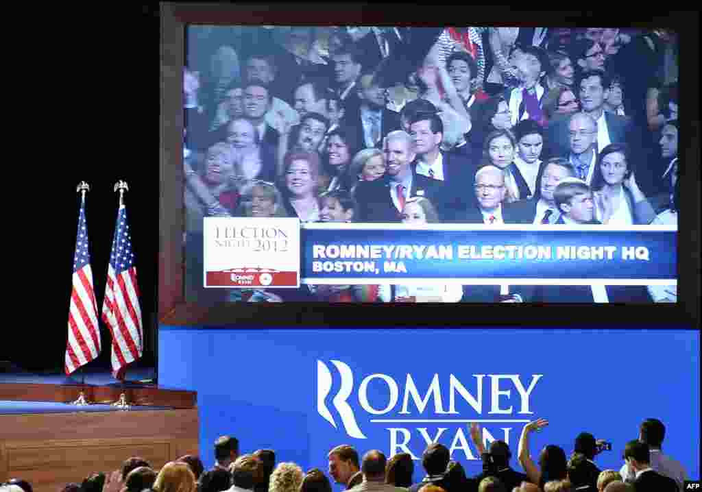 Supporters of US Presidential candidate Mitt Romney gather on election night in Boston Massachusetts.