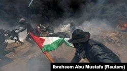 Акция протеста в секторе Газа, 14 мая 2018 года.