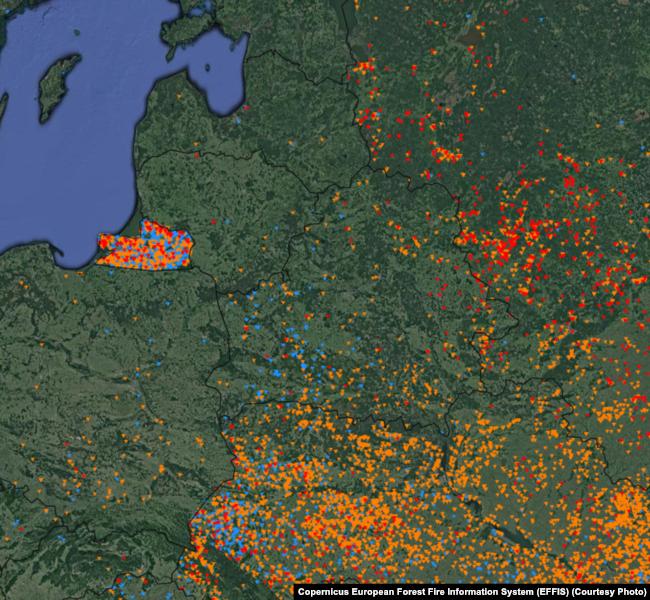Очаги природных пожаров, апрель 2018 года