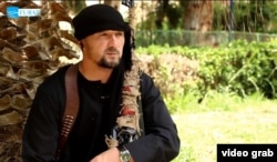 A screen grab of former Tajik Colonel Gulmurod Halimov in an IS propaganda video from 2015.