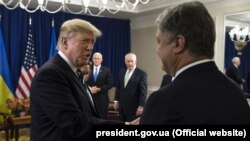 Comments on Crimea by President Trump, seen here with Ukrainian President Petro Poroshenko, have been causing unease in Kyiv.