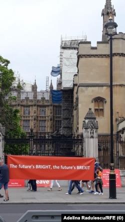 Protest la Londra, în fața Parlamentului britanic, în timpul campaniei pentru desemnarea unui nou lider conservator