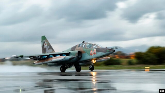 A Russian Sukhoi Su-25 fighter jet takes off from the Russian Hmeimim airbase on March 16.