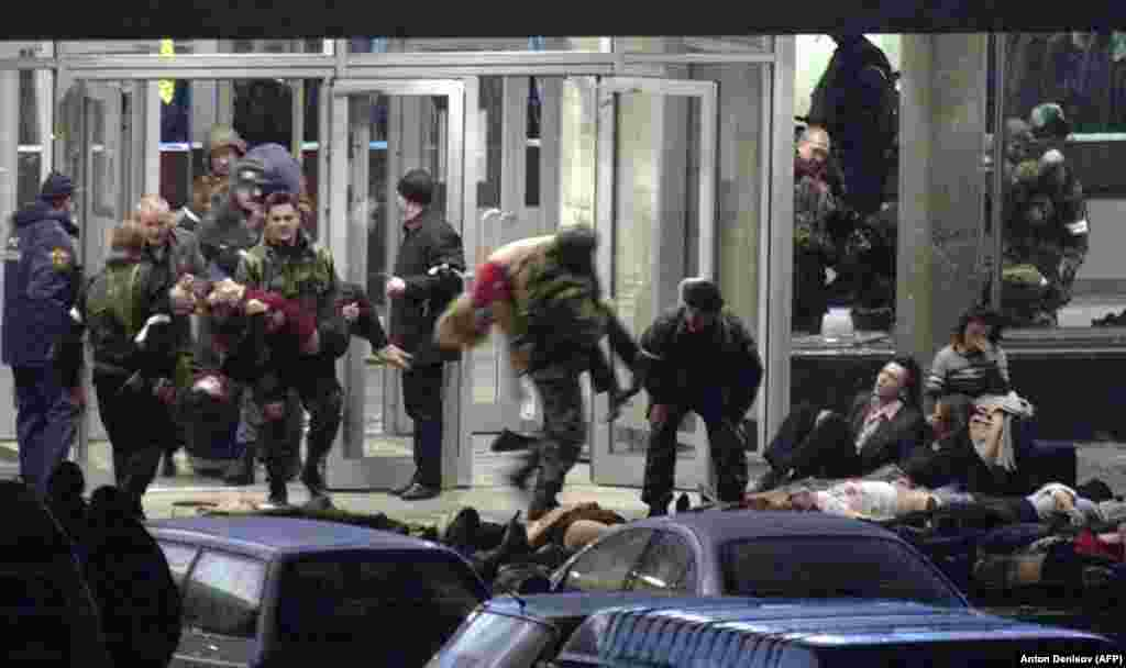 In October 2002, Islamist militants burst into a Moscow theater and took nearly 1,000 audience members, actors, and others hostage, demanding the withdrawal of federal troops from Chechnya. Authorities said all the attackers were killed when security forces stormed the theater three days later, but 130 hostages also died, many from the effects of a potent gas pumped into the building before what critics said was a badly botched rescue operation.