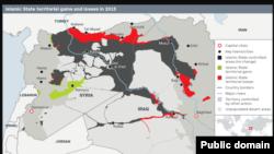 Suriyada İSlam Dövləti (İŞİD) silahlı qruplaşmasının nəzarətində olan və olmayan ərazilər