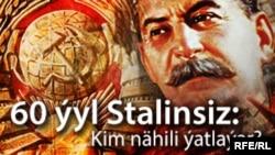 Türkmənistanda parkda Stalinin ölümünün 60 illiyi ilə bağlı plakat