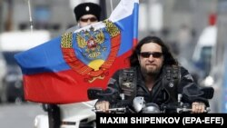 Aleksandr Zaldostanov, leader of the Night Wolves motorcycle club, rides with club members in Moscow.