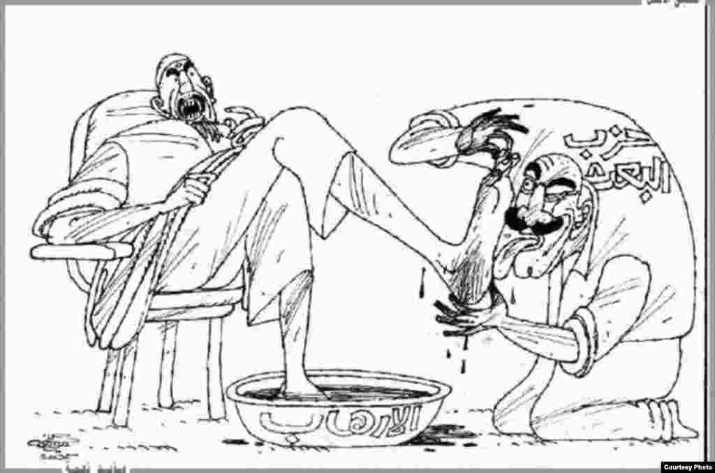 In this cartoon by late Iraqi artist Moyad Neama, a sycophantic Ba'ath Party member cozies up to a terrorist.