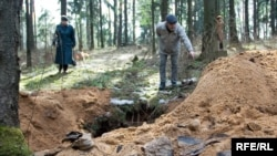 Vandals attacked graves in the Kurapaty area outside Minsk.