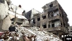 Разрушения в лагере для палестинских беженцев Ярмук в Дамаске. 9 апреля 2015 года.
