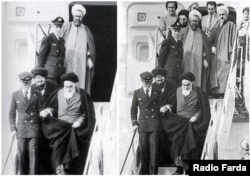 An original photo of Ayatollah Khomeini's arrival on February 01, 1979 (R) and a manipulated version of the same photo which is published by Fars news agency.