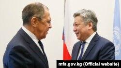 Министры иностранных дел России и Кыргызстана Сергей Лавров и Эрлан Абдылдаев. Нью-Йорк, 18 января 2018 года.