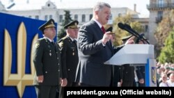 President Petro Poroshenko speaks at a military parade on Independence Day in Kyiv on August 24.