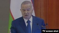 Президент Узбекистана Ислам Каримов выступает на съезде своей партии. Ташкент, 18 февраля 2015 года.