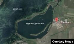 Пруд-охладитель Балаковской АЭС и река Волга на карте