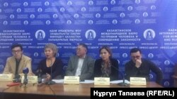 Участники пресс-конференции по итогам дела «джихадистов». Алматы, 14 января 2019 года.