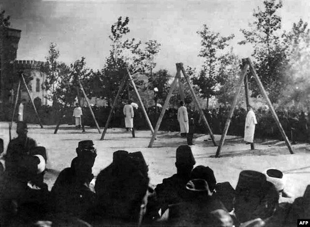 A picture released by the Armenian Genocide Museum-Institute purportedly shows Armenians hung by Ottoman forces in Constantinople in June 1915.