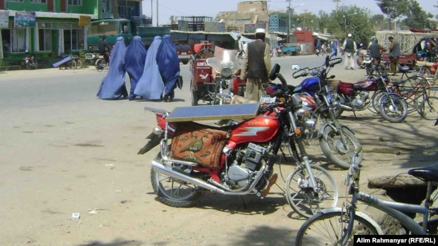 Without a park, Afghan women have few places to relax in the Sheberghan city center.
