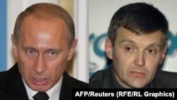 Президент России Владимир Путин и бывший офицер ФСБ Александр Литвиненко. Фотоколлаж.