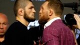 Khabib Nurmagomedov (left) and Conor McGregor face off during a press conference for UFC 229 at Radio City Music Hall in New York late last month.