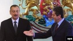 Георгий Парванов (справа) и Ильхам Алиев, София, 13 ноября 2009