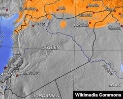 منطقه کردنشین سوریه (به رنگ نارنجی)