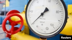 A pressure gauge at an underground gas storage facility in the Ukrainian village of Mryn.