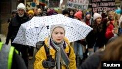 Gretha Thumberg la un protest la Stockholm