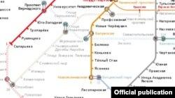 На схеме Московского метрополитена новая ветка пока обозначена коричневым пунктиром