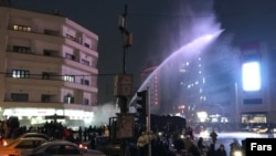 Authorities used water canon in Tehran to disperse demonstrators.